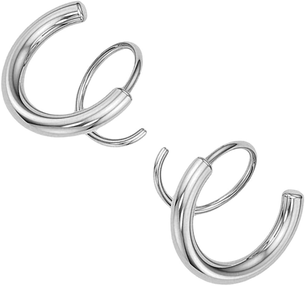 generic 2pcs Spiral Twisting Earrings Double Helix Trendy Dainty Ear Cuff Piercing Stud (Golden)