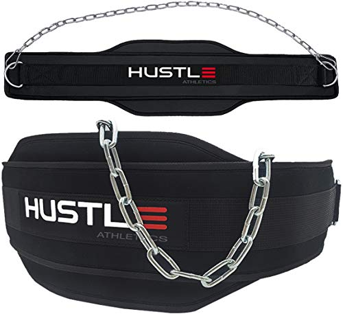 Hustle Athletics Dip Belt For Weight Lifting - Professional Grade Weight Belt Chain and XL Carabiners - With Extra Comfy Foam padding - Increase Strength For Weightlifting - Weighted Belt For Pullups