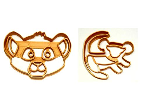 SIMBA CUB DETAILED FACE AND CAVE PAINTING FROM THE LION KING MOVIE CHARACTER SON OF MUFASA AND SARABI SET OF 2 SPECIAL OCCASION COOKIE CUTTERS BAKING TOOL 3D PRINTED MADE IN USA PR1332