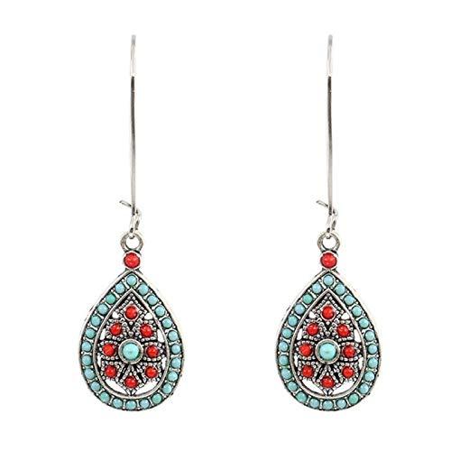 Ruby569y Pendientes colgantes para mujeres y niñas, bohemios con cuentas de imitación turquesa incrustadas en forma de lágrima hueca - rojo