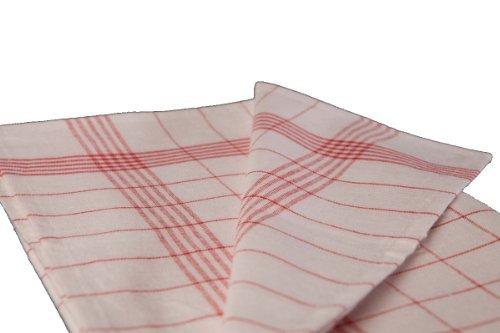 Lot de 10 torchons à carreaux rayés gläsertücher-lavable jusqu'à 95° et couleur au c-größe choix, Motif carreaux Rouge/blanc, 60x80 cm