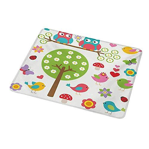 Umwelt Gummimaus Matte Kindergarten, Vögel und Eulen im Frühlingswald Bunte lebhafte Gartenblüte Natur inspiriert süß, Mehrfarbig für magische Maus