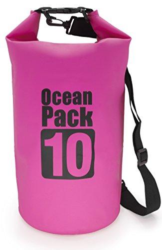MyGadget Sac Etanche 10L pour Sport Nautique - Dry Bag Certifié Waterproof Imperméable PVC - Voile Canoë Kayak Rafting Plongée - Rose