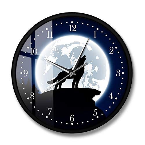 Arte de Pared Lobo aullador con Luna Reloj de Pared Decorativo Animal Decoración del hogar Reloj de Pared de Hombre Lobo Gris Reloj de Pared (Marco de Metal)