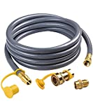 SHIENSTAR Flexible 12FT 1/2 ID Natural Gas Hose Conversion Kit for Gas Grill, Griddle, Smoker, Fire Pit, Pizza Oven, Generator, Outdoor Heater and More NG Appliance