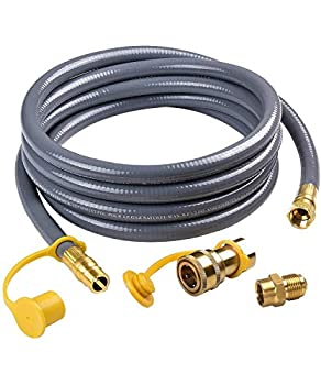 SHINESTAR 1/2-Inch Natural Gas Hose  12-Foot  with Quick Connect Fitting Propane to Natural Gas Conversion Kit Perfect for BBQ Grill Patio Heater and More NG Appliance