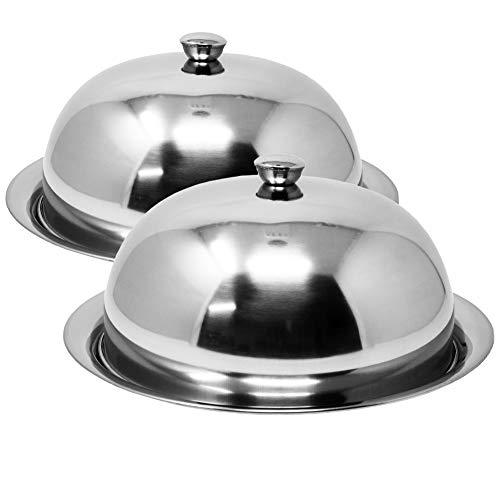ToCi Speiseglocke Ø 25 cm   mit Unterteller Ø 30 cm   14 cm hohe Abdeckhaube   poliertes Metall in Silber (2 Stück)