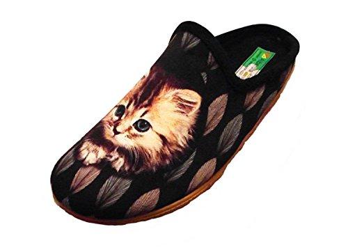 ALBEROLA Hausschuh/Pantoffel HELLE Sohle Katze A9685A (38 EU)