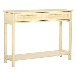 HOMCOM Console Table d'appoint dim. 100L x 30l x 76H cm 2 tiroirs façades cannage en rotin étagère MDF Aspect Bois Clair