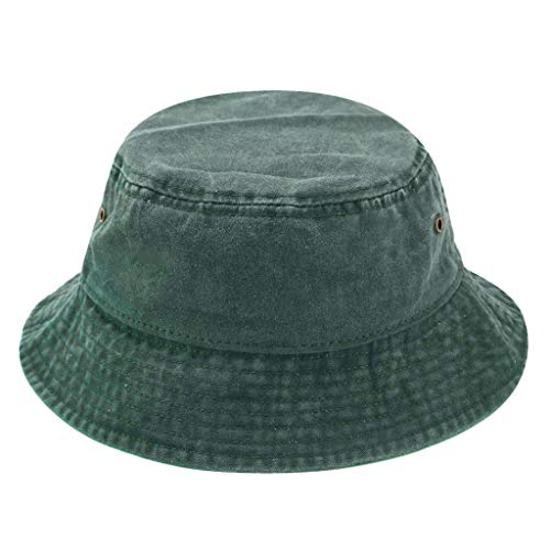 Xuebai Women Men Vintage Washed Cotton Bucket Hat Packable Summer Breathable Solid Color Wide Brim Outdoor Sun Protection Fisherman Cap Bucket Hat Army Green