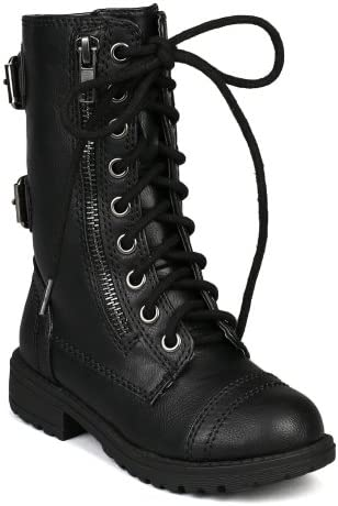 Soda Girls Kids Dome 2S Lace Up Military Combat Boots Black 2 product image