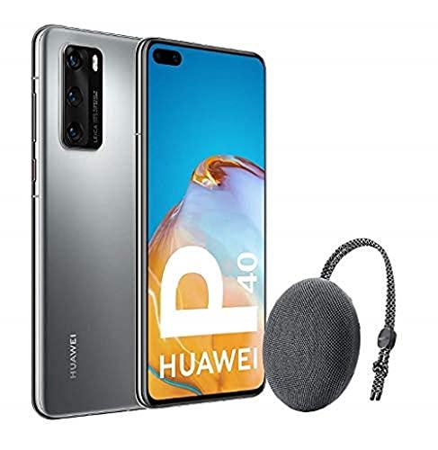 Huawei P40 5G - Smartphone de 6,1' OLED (8GB RAM + 128GB ROM, 3x Cámaras Leica (50+16+8MP), chip Kirin 990 5G, 3800 mAh, EMUI 10 HMS) Plata + altavoz CM51 [Versión ES/PT]