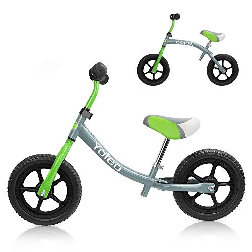 Yoleo Kinder Laufrad Lauflernrad Balance Fahrrad Kinderrad für Jungen und Mädchen ab 2-3 Jahre 360° drehbar Lenker Höhenverstellbar nur 2,88 kg (Grün Neu)
