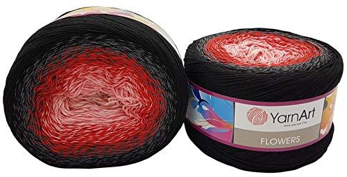 Flowers Bobble - Ovillo de lana (500 gramos, 55% algodón, multicolor, gris, rojo y rosa 282)