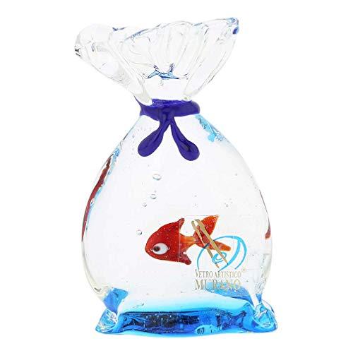 Murano Glas Aquarium Tasche mit tropischen Fischen - 3 Zoll