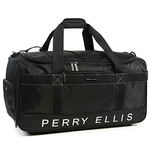Perry Ellis Men's Medium Weekender Travel Duffel Bag with Shoe Pocket, Black
