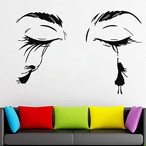 HGFDHG Etiqueta de la Pared de pestañas Mujer Cara pestañas Cejas Puerta Ventana Vinilo Pegatina salón de Belleza Chica Chica Dormitorio decoración Interior Papel Tapiz