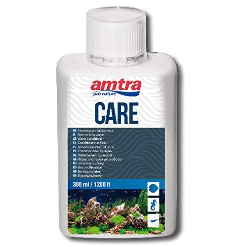 AMTRA CARE - Biocondizionatore per eliminare cloro e metalli pesanti dell'acqua di rubinetto, Trattamento dell'acqua dell'acquario, Formato 300 ml