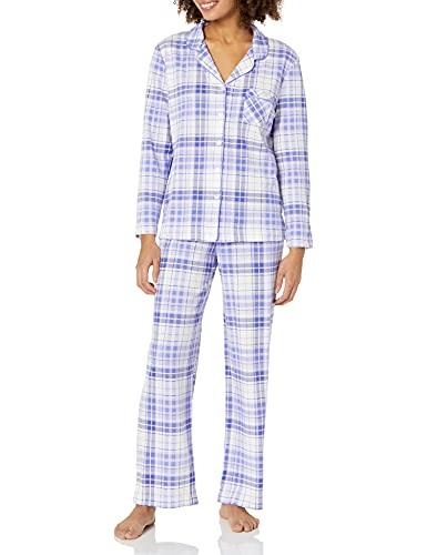 Karen Neuburger Women's Pajama Long Sleeve Stripes Girlfriend Pj Set, Lavender Purple/White Plaid, Small
