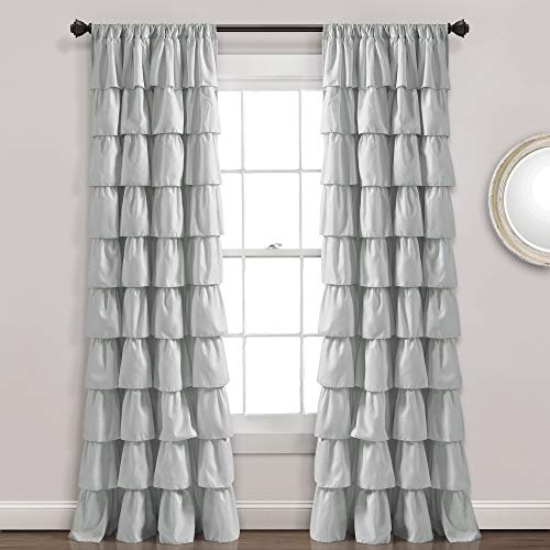 "Lush Decor, Light Gray Ruffle Window Curtain-Shabby Chic Farmhouse Style Panel for Living, Dining Room, Bedroom (Single), 84"" x 50 L"