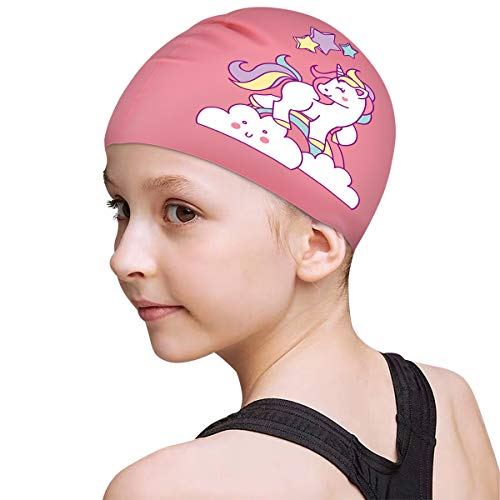 FUNOWN Kids Swim Caps for Kids, Children, Boys and Girls Aged 2-8, Baby Waterproof Bathing Caps for Long and Short Hair (Pink)