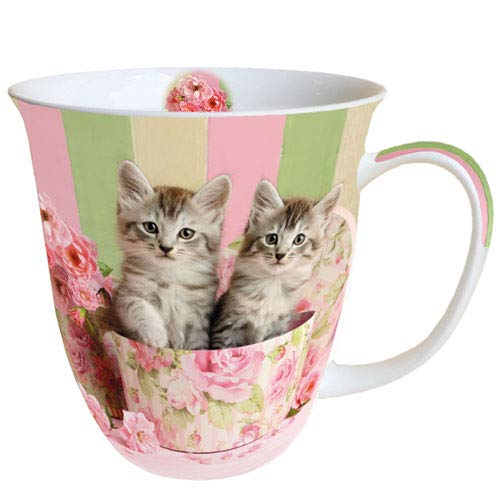 Ambiente porseleinen beker Bone China, mok, kop, voor thee of koffie ca. 0,4 l cats in doos.