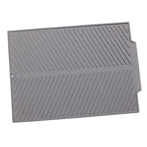 Tubayia Alfombrilla de silicona para escurrir platos, resistente al calor, antideslizante, color gris