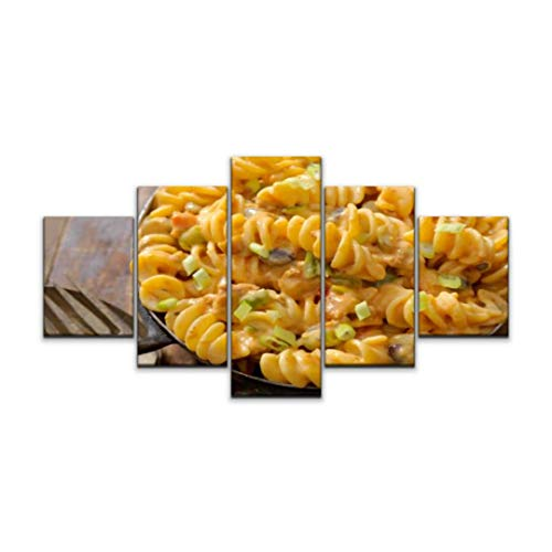 XEPPO 5 Panels Wall Art Print On Canvas Cheesy Chili rotini Noodles Stock Pictures Royalty Free Photos Modern Abstract Picture Poster for Home Decor Stretched and Framed Ready to Hang (60''Wx32''H)