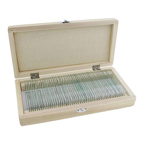 MonMed Prepared Microscope Slides - 50 Pc Plant and Animal Microscope Sample Kit with Wooden Microscope Slide Box
