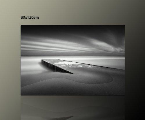 Ps-Art Wandbilder - Tela stampata su cornice, misura 80 x 120 cm, motivo spiaggia in bianco e nero