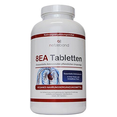 8 essentielle Amino Pattern 8EA - Aminosäuren 240 vegane Tabletten im optimalen Verhältnis L-Leucin, L-Valin, L-Isoleucin, L-Phenylalanin, L-Lysin, L-Threonin, L-Methionin und L-Tryptophan