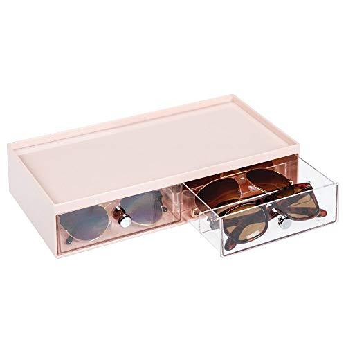 mDesign Cajas para gafas de sol – Cajoneras de plástico con 2 cajones y 3 compartimentos en cada cajón – Organizador de armarios para guardar todo tipo de gafas – rosa claro/transparente
