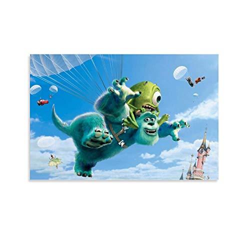 DRAGON VINES Póster de Monsters University Mike y Sally Monster Flying Art Póster impresión decoración de aula sala de estudio 60 x 90 cm