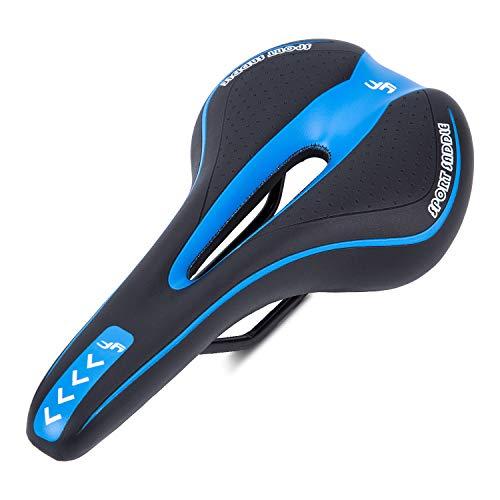 Asvert Sillín de Bicicleta Antiprostático Muy Comodo y Impreable Gel MTB Carretera Asiento Ciclismo Superior y Raíles de Acero de Carbono, Negro Azul