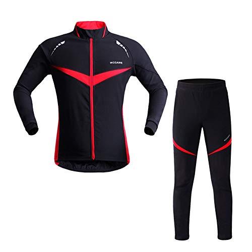 Vêtements De Vélo pour Hommes Automne Et Hiver, T-Shirt à Manches Longues + Pantalons Chauds, Combinaison De Cyclisme Coupe-Vent Et Respirante à Manches Longues (Black Red,S)