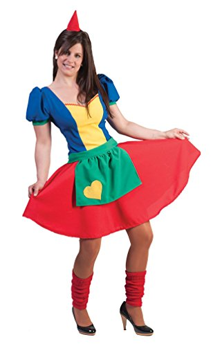 Karneval-Klamotten Zwergen Kostüm Damen Zwergen-Kleid Zwerg Kostüm Damen-Kostüm mit Zwergen-Mütze Garten-Zwerg Karneval