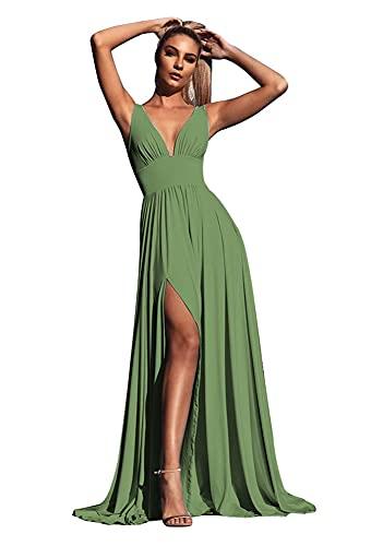 Sage Green Bridesmaid Dresses,Split V Neck Bridesmaid Dresses Long for Women Wedding A Line Sleeveless Formal Evening Prom Dress Sage Green Size 10