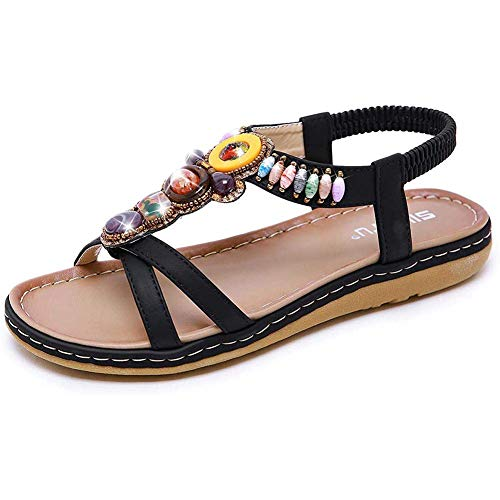 QLIGHA Women's New Rhinestone Elastic T-Strap Bohemia Style Roman Bead Folk Style Round Peep Toe Summer Beach Sandals Flip Flops Flat
