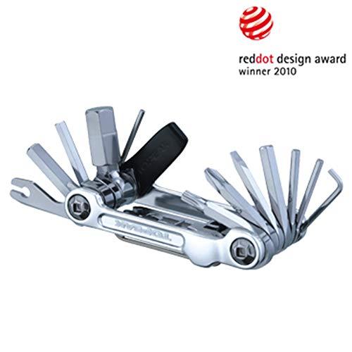 TOPEAK Mini 20 Pro Miniwerkzeug Faltbar Mini-Tool Fahrrad Innensechskant Kettennieter + Tasche, 15400166, Farbe Silber