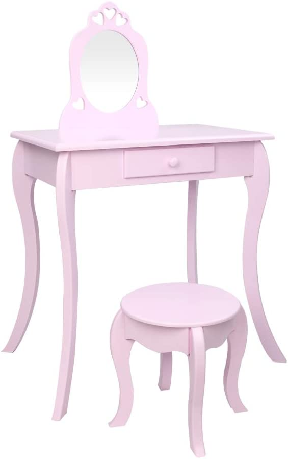 RTWAY Kids Wooden Vanity service Table and Popular products in Set 2 Stool Detachable 1