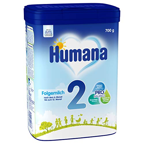 Humana Folgemilch 2, Babynahrung im Anschluss an das Stillen, mit Vitamin A, C & D, ohne Stärke, nach dem 6. Monat, 700 g