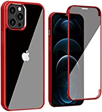 """QZW Compatible with iPhone 12 Pro Max Case, Full Body Protection Rugged with Tempered Glass Built-in Screen Protector, TPU Bumper-Shockproof Heavy Duty Cover 6.7"""" (Clear and Red)"""