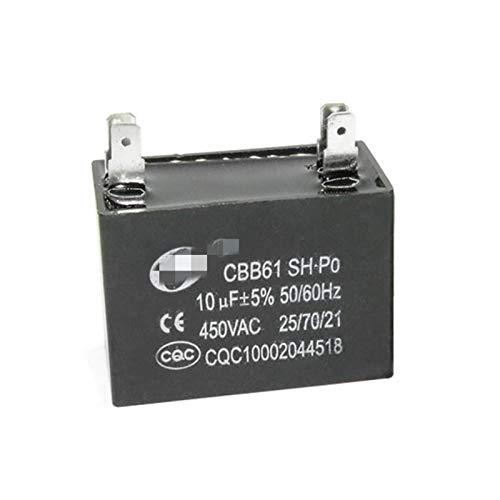 ZHENGLUSM Condensador CBB61 Aire Acondicionado Externo Ventilador Externo Capacitor 4 UF / 4.5/5/6/7/8 / 10F 450V Aire Acondicionado Use Condensador 2 PCS-1 Lote (Kapazitanz : 10UF)