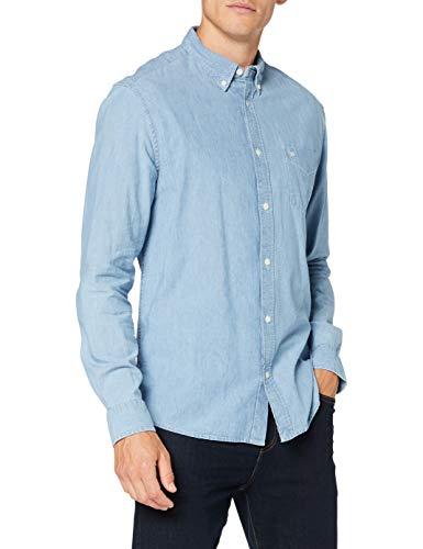Wrangler LS 1PKT Button Down Shirt, Light Indigo, XL para Hombre