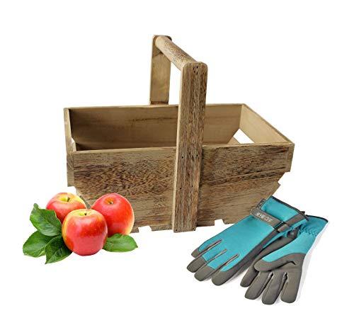 Wrenbury Veg Trug Garden Trug Basket | Oak Effect Wooden Medium 33cm Gardening Trug