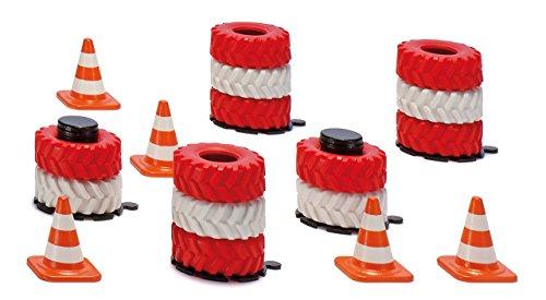 SIKU 6854, Zubehör Reifenstapel und Pylonen, Je 20 Stück, Rot/Weiß, Gummi/Kunststoff