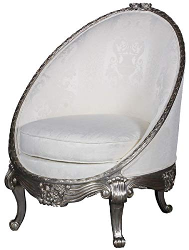 Casa Padrino sillón Barroco de Lujo Blanco/Plata 80 x 87 x A. 100 cm - Sillón de salón Noble en F