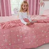 Dreamscene Star Weighted Blanket for Kids Children Sleep Insomnia Therapy Anxiety Relief Autism Reversible Fluffy Teddy Fleece Throw, Blush Pink, 100 x 150cm - 3kg, DBWESTRBL01