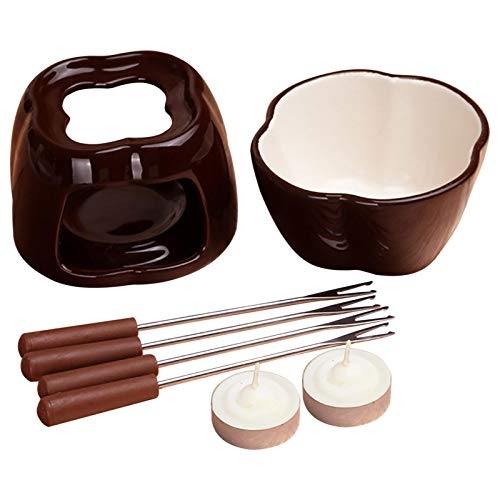 Fondueset Ceramic Earthenware,fondue Seteasy To Clean And Stain Resistant,fondue Chocolate Fondue Pot With Tealight Candles, Induktions Töpfe Set Works For Chocolate, Cheese