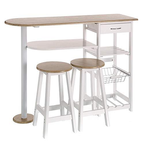 Mesa para cocina de bar moderna de madera blanca Basic - LOLAhome